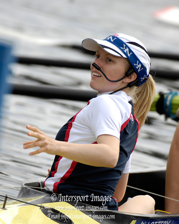 Poznan, POLAND,  GBR W8+, Cox Caroline O'CONNER guides the Women's eight on to the stake boat for the mornings race for lanes, at the 2008 FISA World Cup. Rowing Regatta. Malta Rowing Course on Saturday, 21/06/2008. [Mandatory Credit:  Peter SPURRIER / Intersport Images] Rowing Course:Malta Rowing Course, Poznan, POLAND