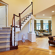 CHERRY HILL, NJ - DECEMBER 23, 2016: The first floor foyer. The door to the master suite is halfway up the stairs on the left. 9 Gwen Court, Cherry Hill, NJ. Credit: Albert Yee for the New York Times