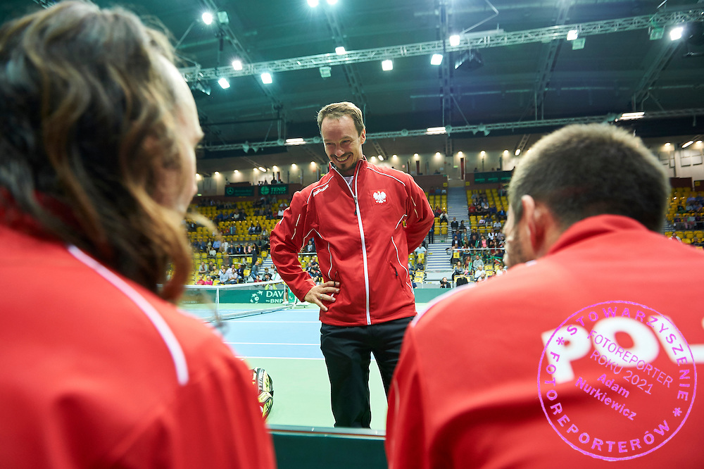 Radoslaw Szymanik - captain national team during Davis Cup Tie World Group Play-off Poland v Slovakia at Gdynia Arena Hall in Gdynia, Poland.<br /> <br /> Poland, Gdynia, September 20, 2015<br /> <br /> Picture also available in RAW (NEF) or TIFF format on special request.<br /> <br /> For editorial use only. Any commercial or promotional use requires permission.<br /> <br /> Adam Nurkiewicz declares that he has no rights to the image of people at the photographs of his authorship.<br /> <br /> Mandatory credit:<br /> Photo by &copy; Adam Nurkiewicz / Mediasport