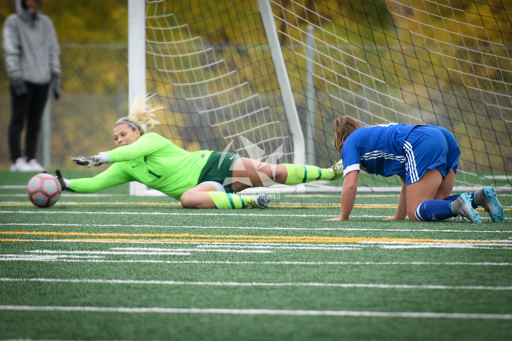 4th year goalkeeper Ashton Lowry (1) of the Regina Cougars during the Women's Soccer Homeopener on September 16 at U of R Field. Credit: Arthur Ward/Arthur Images