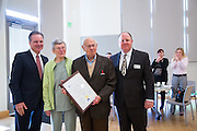 From left to right, Supervisor Dave Cortese, The Milpitas Post Founders Elaine and Mort Levine, and Editor Rob Devincenzi pose for a photo after being presented with the Board of Supervisors Commendation plaque during the Milpitas Chamber of Commerce Business Breakfast at the Milpitas Senior Center in Milpitas, California, on April 14, 2015. (Stan Olszewski/SOSKIphoto)during the Milpitas Chamber of Commerce Business Breakfast at the Milpitas Senior Center in Milpitas, California, on April 14, 2015. (Stan Olszewski/SOSKIphoto)