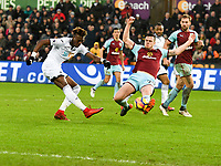 Football - 2017 / 2018 Premier League - Swansea City vs. Burnley<br /> <br /> Tammy Abraham of Swansea City shoots at goal, at The Liberty Stadium.<br /> <br /> COLORSPORT/WINSTON BYNORTH
