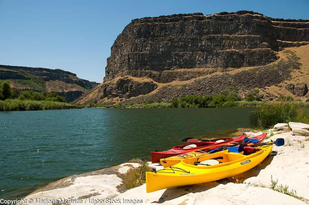 Kayaking the Snake River during summer in the Canyon in Twin Falls, Idaho.