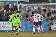 Forest Green Rovers goalkeeper Sam Russell(23) saves a shot during the Vanarama National League match between Barrow and Forest Green Rovers at Holker Street, Barrow, United Kingdom on 28 January 2017. Photo by Mark Pollitt.