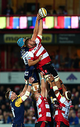 Ed Slater of Gloucester Rugby wins the ball at a line out - Mandatory by-line: Robbie Stephenson/JMP - 22/09/2017 - RUGBY - Kingsholm - Gloucester, England - Gloucester Rugby v Worcester Warriors - Aviva Premiership