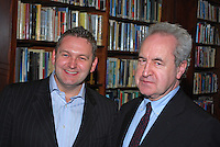 Belfast Book Festival opened last night (Tues 24 Feb 09) with Irish prize-winning author, John Banville, in conversation with Belfast-born broadcaster and journalist, Willam Crawley (left) in Belfast's historic Linen Hall Library. The event was a sell-out. Ref:  200902241803..Copyright Image from Victor Patterson, 54 Dorchester Park, Belfast, UK, BT9 6RJ..Tel: +44 28 9066 1296.Mob: +44 7802 353836.Voicemail +44 20 8816 7153.Skype: victorpattersonbelfast.Email: victorpatterson@mac.com.Email: victorpatterson@ireland.com (back-up)..IMPORTANT: If you wish to use this image or any other of my images please go to www.victorpatterson.com and click on the Terms & Conditions. Then contact me by email or phone with the reference number(s) of the image(s) concerned.