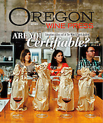 Cover of the October issue of Oregon Wine Press featuring certified education classes at The Wine & Spirit Archive