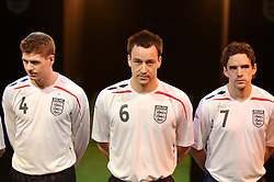 Manchester, England - Monday, February 5, 2007: England players Steven Gerrard, John Terry and Owen Hargreaves launch the new England home kit at the Royal Exchange Theatre in Manchester. (Pic by David Rawcliffe/Propaganda)