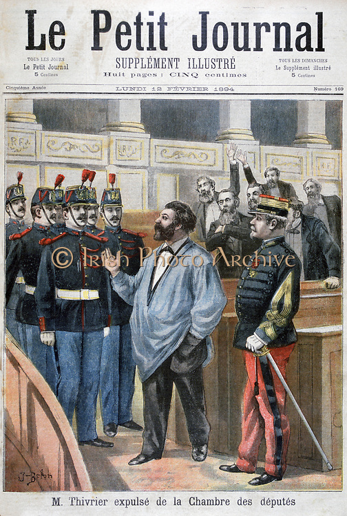 Christophe Thivrier (1841-1895) French politician in his blue worker's smock, expelled from the Chamber of Deputies for shouting 'Vive la Commune'. First Socialist mayor in the world. From 'Le Petit Journal', Paris, 12 February 1894.