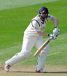 Lancashire's Karl Brown drives the ball. - Photo mandatory by-line: Harry Trump/JMP - Mobile: 07966 386802 - 08/04/15 - SPORT - CRICKET - Pre Season - Somerset v Lancashire - Day 2 - The County Ground, Taunton, England.