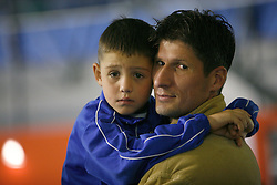 Simon Seslar, football player and his son at handball game RK Celje Pivovarna Lasko  - SC Magdeburg in the semifinal of EHF 2007 Men`s Champions Trophy, on October 20, 2007 in Zlatorog Hall, Celje, Slovenia.   (Photo by Vid Ponikvar / Sportal Images).