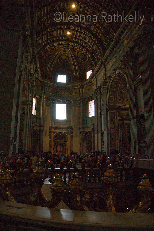The architecture in the Basilica St. Peters at the Vatican, Rome, Italy, is famous for its magnificent art and architecture.