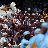 A Mississippi State fan waves his Bulldog flag at Dudy Noble Field during Friday's 2019 NCAA Starkville Regional where Mississippi State played Southern.