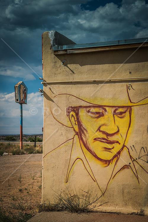 graffiti painted wall of a cowboy