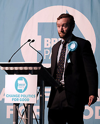 Brexit Party Rally, Edinburgh, Friday 17th May 2019<br /> <br /> The Brexit Party held a rally in the Corn Exchange, Edinburgh today with leader Nigel Farage giving a speech.<br /> <br /> A protest was held outside by the Stand Up To Racism group.<br /> <br /> Pictured: Brexit Party EU candidate Calum Walker <br /> <br /> Alex Todd | Edinburgh Elite media