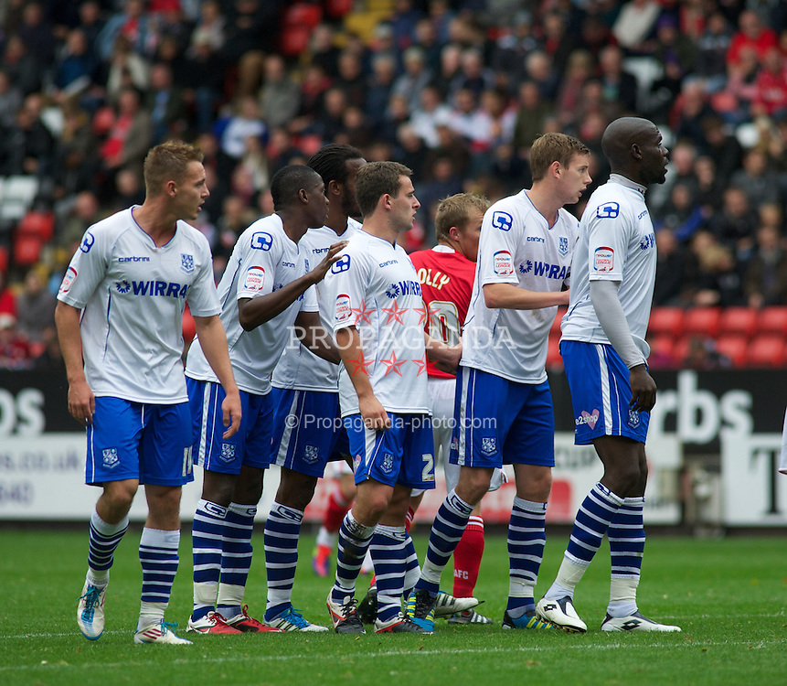 LONDON, ENGLAND - Saturday, October 8, 2011: A wall of Tranmere Rovers players lines up for a corner against Charlton Athletic during the Football League One match at The Valley. (Pic by Gareth Davies/Propaganda)