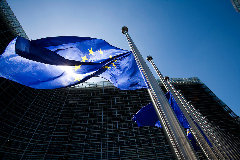 BRUSSELS - BELGIUM - 23 JUNE 2008 -- The European Union flag. Also the Berlaymont building.  Photo: Erik Luntang