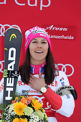 26.01.2018, Lenzerheide, SUI, FIS Weltcup Ski Alpin, Lenzerheide, alpine Kombination, Damen, Flower Zeremonie, im Bild Wendy Holdener (SUI) // Wendy Holdener from Switzerland during the Flowers ceremony for the women's Alpine combination of FIS Ski Alpine World Cup in in Lenzerheide, Austria on 2018/01/26. EXPA Pictures © 2018, PhotoCredit: EXPA/ Sammy Minkoff<br /> <br /> *****ATTENTION - OUT of GER*****