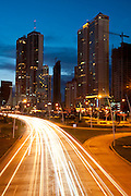 Night view of Cinta Costera bayside road and recreational areas. Panama City, Panama. Central America.