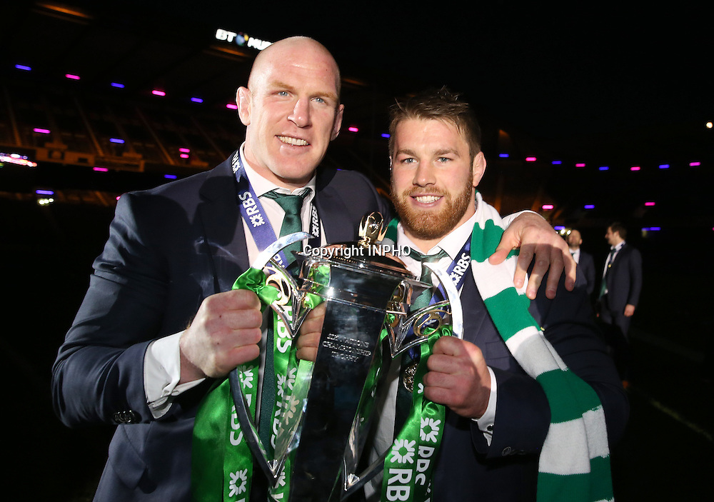 RBS 6 Nations Championship, BT Murrayfield, Edinburgh, Scotland 21/3/2015<br /> Scotland vs Ireland<br /> Ireland's Paul O'Connell and Sean O'Brien celebrate with the trophy<br /> Mandatory Credit &copy;INPHO/Dan Sheridan