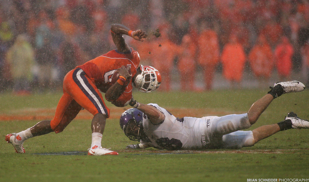 Sep 26, 2009; Clemson, SC, USA; Clemson Tigers wide receiver Jacoby Ford (6) is tackled by TCU Horned Frogs defensive back Colin Jones (28) during the fourth quarter at Memorial Stadium. Mandatory Credit: Brian Schneider-www.ebrianschneider.com
