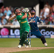 AB de Villiers about to be caught and bowled by Ravindra Jadeja during the ICC World Twenty20 Cup match between South Africa and India at Trent Bridge. Photo © Graham Morris (Tel: +44(0)20 8969 4192 Email: sales@cricketpix.com)