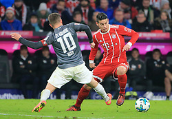 20171118, 1.BL, FC Bayern vs FC Augsburg, Allianz Arena, Muenchen, Fussball,  Sport, im Bild:..Daniel Baier (FC Augsburg) vs James Rodriguez (FCB)...*Copyright by:  Philippe Ruiz..Postbank Muenchen.IBAN: DE91 7001 0080 0622 5428 08..Oberbrunner Strasse 2.81475 MŸnchen, .Tel: 089 745 82 22, .Mobil: 0177 29 39 408..( MAIL:  philippe_ruiz@gmx.de ) ..Homepage: www.sportpressefoto-ruiz.de. (Credit Image: © Philippe Ruiz/Xinhua via ZUMA Wire)