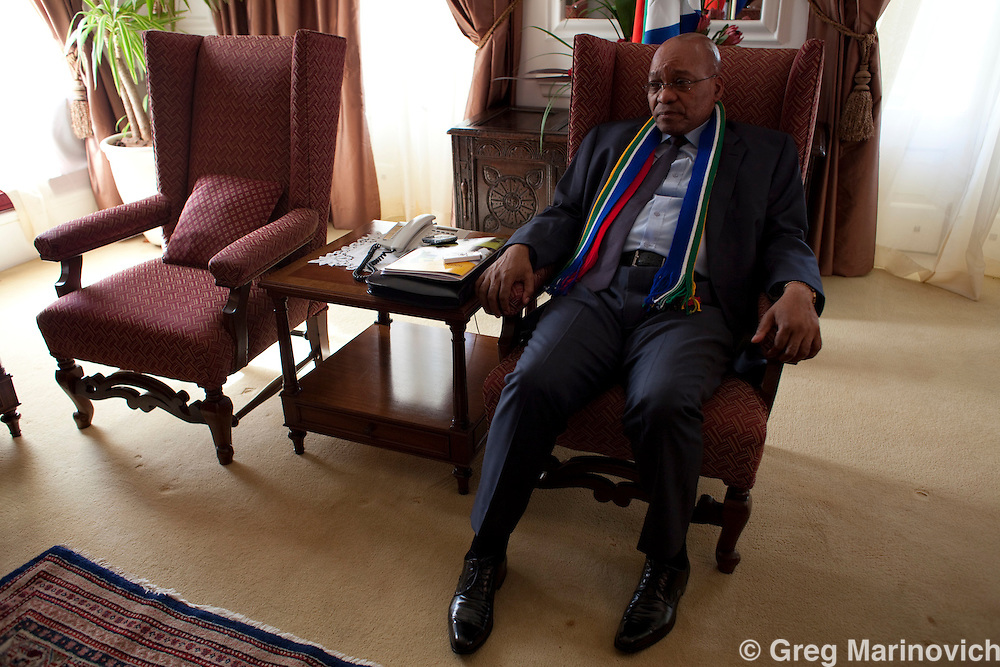 South African President Jacob Zuma interviewed at the Pretoria Presidential guesthouse, Feb 19, 2010. Wearing a FIFA Worldf Cup lapel pin and a South African coloured scarf. Photo Greg Marinovich