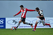 Lloyd James (4) of Exeter City on the attack during the The FA Cup match between Exeter City and Heybridge Swifts at St James' Park, Exeter, England on 5 November 2017. Photo by Graham Hunt.