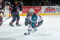 KELOWNA, CANADA - MARCH 24: Dillon Dube #19 of the Kelowna Rockets skates against the Kamloops Blazers March 24, 2017 at Prospera Place in Kelowna, British Columbia, Canada.  (Photo by Marissa Baecker/Shoot the Breeze)  *** Local Caption ***
