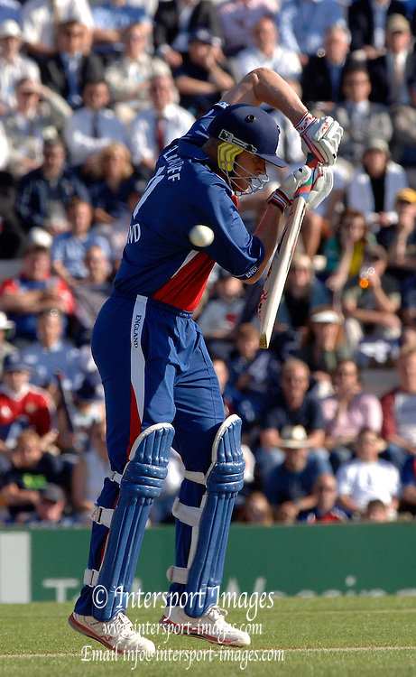 2005 Twenty/20 Cricket England vs Australia, The Rose Bowl, Southampton, Hampshire, ENGLAND 13.06.2005, The ball slips past Andrew Flintoff's guard.Photo  Peter Spurrier. .email images@intersport-images...