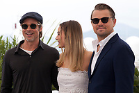 Brad Pitt Margot Robbie and Leonardo DiCaprio at Once Upon A Time... In Holywood film photo call at the 72nd Cannes Film Festival, Wednesday 22nd May 2019, Cannes, France. Photo credit: Doreen Kennedy