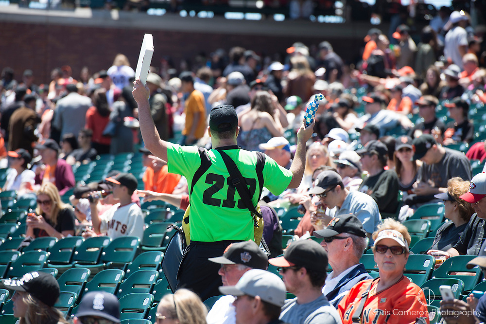 Food seller in the stands at A T and T Base Ball park San Francisco.