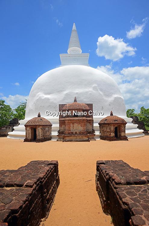 Dagaba Kiri Vihara, built in honour of the king`s queen, in The Ancient City Polonnaruwa, Sri Lanka