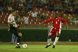 BELGRADE, SERBIA & MONTENEGRO - Wednesday, August 20, 2003: Wales' Nathan Blake closes down Serbia & Montenegro's goalkeeper Dragoslav Jervic during the UEFA European Championship qualifying match at the Red Star Stadium. (Pic by David Rawcliffe/Propaganda)