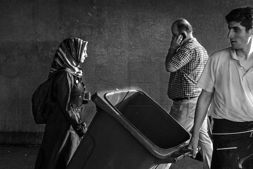 People on the underpass that runs under Galata bridge, in Istanbul.