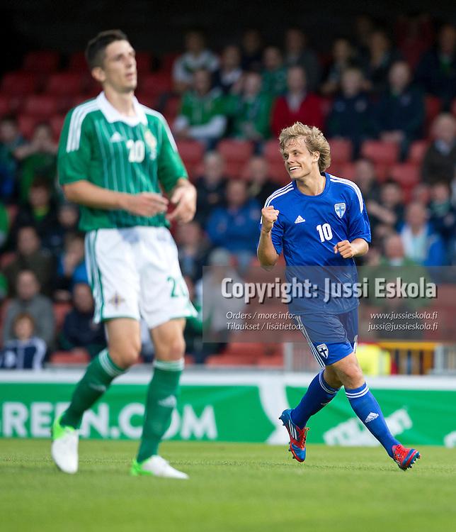 2-2-maali. Teemu Pukki. Pohjois-Irlanti - Suomi. Maaottelu. Belfast 15.8.2012. Photo: Jussi Eskola