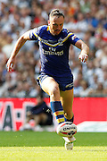 Ben Currie chips through for the Wolves during the Challenge Cup Final 2016 match between Warrington Wolves and Hull FC at Wembley Stadium, London, England on 27 August 2016. Photo by Craig Galloway.
