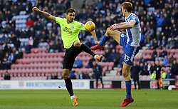 Ryan Tafazolli of Peterborough United in action with Dan Burn of Wigan Athletic - Mandatory by-line: Joe Dent/JMP - 13/01/2018 - FOOTBALL - DW Stadium - Wigan, England - Wigan Athletic v Peterborough United - Sky Bet League One