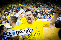 Luka Zvizej of Celje PL celebrate after winning during handball match between RK Gorenje Velenje and RK Celje Pivovarna Lasko in Final match of 1st NLB League - Slovenian Championship 2013/14 on May 23, 2014 in Rdeca dvorana, Velenje, Slovenia. RK Celje Pivovarna Lasko became 18-times Slovenian National Champion. Photo by Vid Ponikvar / Sportida