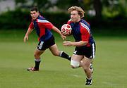 Photo: Richard Lane.<br /> New Zealand Maori training at Rugby School. Barclays Churchill Cup 2007. 21/05/2007. <br /> Maori's Aled de Malmanche attacks.