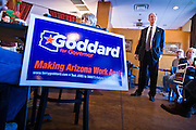 06 OCTOBER 2010 - MARICOPA, AZ:  Terry Goddard (CQ), Democratic candidate for Governor, speaks at a campaign appearance at Peñascos restaurant in Maricopa, in Pinal county. Goddard lost the election to sitting Governor Jan Brewer, a conservative Republican.     PHOTO BY JACK KURTZ