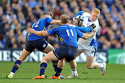 Tom Homer of Bath Rugby takes on the Leinster defence - Photo mandatory by-line: Patrick Khachfe/JMP - Mobile: 07966 386802 04/04/2015 - SPORT - RUGBY UNION - Dublin - Aviva Stadium - Leinster Rugby v Bath Rugby - European Rugby Champions Cup