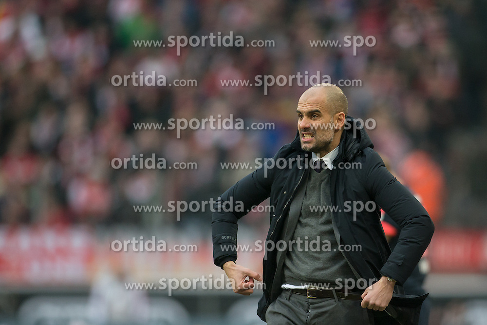 19.03.2016, Rhein Energie Stadion, Koeln, GER, 1. FBL, 1. FC Koeln vs FC Bayern Muenchen, 27. Runde, im Bild Trainer Pep Guardiola (FC Bayern Muenchen) // during the German Bundesliga 27th round match between 1. FC Cologne and FC Bayern Munich at the Rhein Energie Stadion in Koeln, Germany on 2016/03/19. EXPA Pictures &copy; 2016, PhotoCredit: EXPA/ Eibner-Pressefoto/ Sch&uuml;ler<br /> <br /> *****ATTENTION - OUT of GER*****