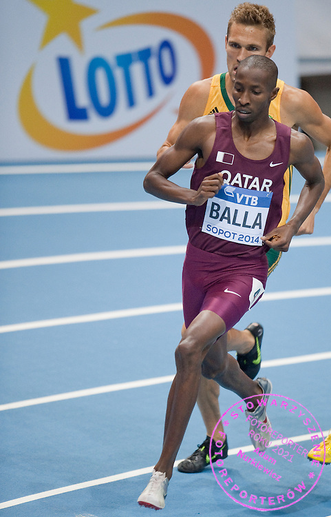 Musaeb Abdulrahman Balla of Qatar competes in men's 800 meters qualification during the IAAF Athletics World Indoor Championships 2014 at Ergo Arena Hall in Sopot, Poland.<br /> <br /> Poland, Sopot, March 7, 2014.<br /> <br /> Picture also available in RAW (NEF) or TIFF format on special request.<br /> <br /> For editorial use only. Any commercial or promotional use requires permission.<br /> <br /> Mandatory credit:<br /> Photo by &copy; Adam Nurkiewicz / Mediasport