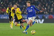 Harvey Barnes (15) on the ball during the Premier League match between Leicester City and Watford at the King Power Stadium, Leicester, England on 4 December 2019.