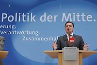 """24 APR 2002, BERLIN/GERMANY:<br /> Gerhard Schroeder, SPD, Bundeskanzler und Parteivorsitzender, waehrend einer Pressekonferenz zur Vorstellung des SPD Wahlprogramms zur Bundestagswahl 2002 unter dem Motte """"Die Politik der Mitte"""", Willi-Brandt-Haus<br /> IMAGE: 20020424-02-017<br /> KEYWORDS: Gerhard Schröder, Wahlprogramm"""