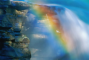 Rainbow in Athabasca Falls detail. Jasper National Park<br />