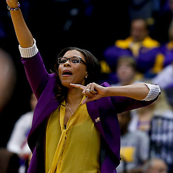 Mar 26, 2013; Baton Rouge, LA, USA; LSU Tigers head coach Nikki Caldwell against the Penn State Lady Lions in the first half during the second round of the 2013 NCAA womens basketball tournament at Pete Maravich Assembly Center. Mandatory Credit: Derick E. Hingle-USA TODAY Sports