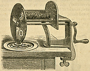 Vegetable slicer. Engraving, 1884